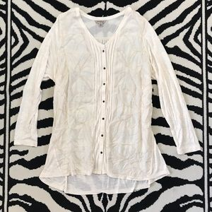 Lucky Brand Sheer Embroidered Button Front Tunic